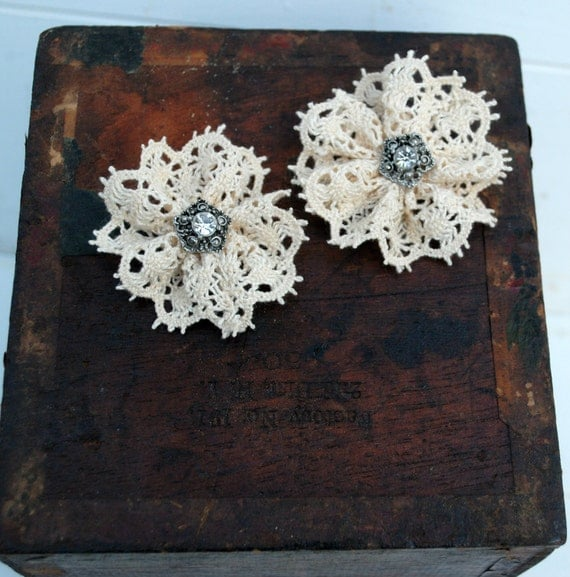 Crochet Trim Rosettes with a Vintage Metal Rhinestone Button Center