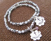 Mother and Daughter Personalized Bracelet Set Hand Stamped Sterling Silver and Birthstones Christening Baptism...