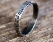 Personalized Stacking Ring, Sterling Silver Skinny Ring, Hammered Ring, Hand Stamped Message Ring, Name Ring - Stella Ring