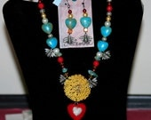 BEEcause Set - Western Cowgirl Antique Yellow Rhinestone Flower Red Heart Pendant Silver Bee Pearl & Aqua Turquoise Red Chunky Necklace Set