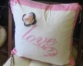 Love - Country Rustic Glam Pink Pillow Cover Leather Lace Rose Pearl & Western Horseshoe Crystal Charms and Leather Tassels Gift