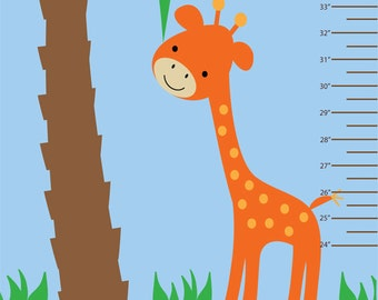Jungle Growth Chart REUSABLE REMOVABLE Fabric Wall Decal