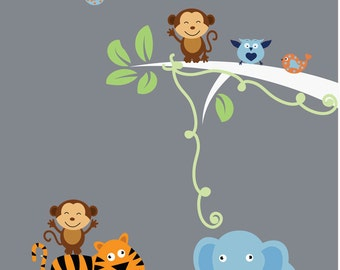 Childrens Jungle Wall Decal - Reusable Fabric Wall Decal - J218SWA