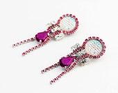 New Iridescent Pink and Fuchsia Rhinestone Earrings