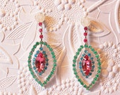 Rhinestone Crystal Earrings in Vibrant Colors