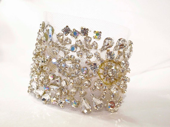 Swarovski Crystal Tulle Cuff with Sterling Clasp or Ribbon Tie