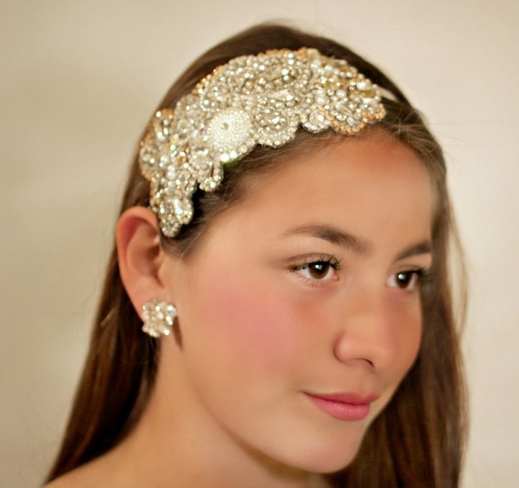 Champagne Rhinestone and Pearl Headband for Your Wedding Day