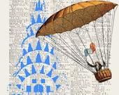 FLYING in  NYC, original ARTWORK, art print, art poster
