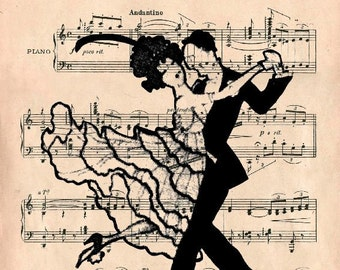MUSIC retro 61 giclee print poster mixed media wall decor illustration Dance