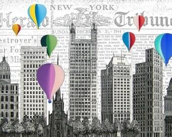 NYC BALLOONS, original ARTWORK, art print, art poster, wall decor new york