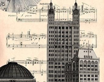 HSBC bank NY, original ARTWORK, art print, art poster