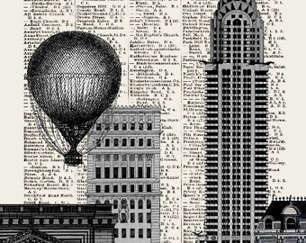 STOCK EXCHANGE NYSE  print poster mixed media painting illustration drawing New York