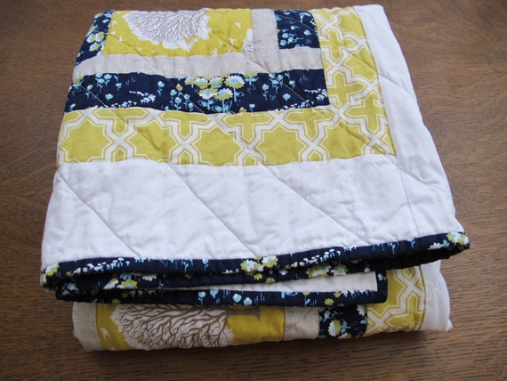 Baby Quilt - modern trees in citron, navy, aqua, gray