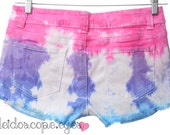 COLORFUL Tie Dye Dyed Denim DISTRESSED Low Rise Cut Off Shorts L 30