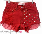 Vintage STUDDED Red DYED Denim Levis Mid Rise Cut Off shorts XS S
