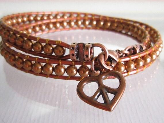 Copper Swarovski Pearls Leather Double Wrap Bracelet Peace Heart Charm