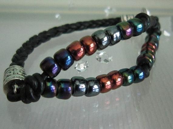 Black Bolo Leather Beaded Bracelet