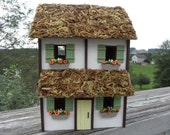 Two Story Wood Miniature Cottage with Thatched Roof. Green Shutters and Yellow Door. One of a Kind Handmade Model House.