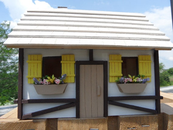 Handmade Miniature Wooden House with Yellow Shutters and Miniature Flowers. Great for Model Railroad.