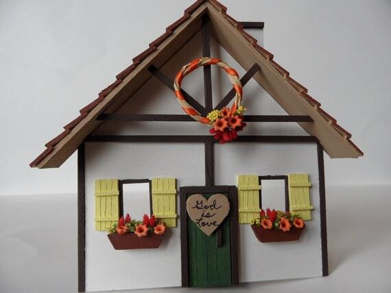 "Hanging Miniature Cottage, ""God is Love"""
