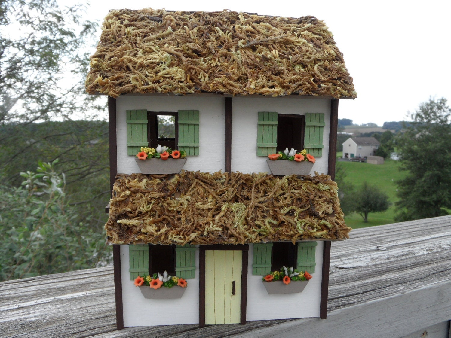 Two Story Wood Miniature Cottage With Thatched Roof Green