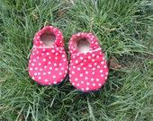 Polka dot soft soled infant shoes
