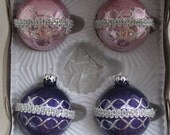 Shabby Chic Christmas Vintage  Pink and Purple Silver Ribbed Ornaments