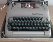 Manual Typewriter with Green Colored Keys, Striped Accents, Original Manual and Key, Smith Corona Silent Super Model with Case