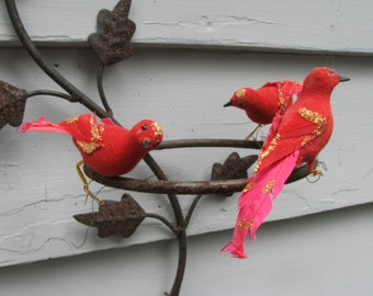 Vintage Christmas Birds Ornaments Set of 3