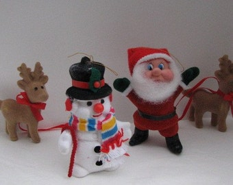 Vintage Christmas Flocked Santa and Friends  Ornaments FREE SHIPPIING - order 3 or more Christmas  listings