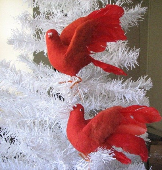 Collector Vintage Christmas Red Birds Ornaments Spun Cotton Set of Two