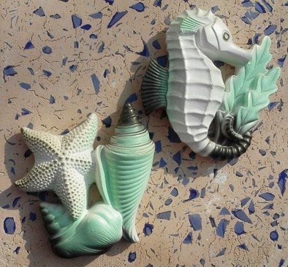 Chalkware Starfish and Seahorse Retro Design