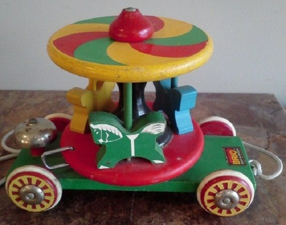 Vintage Pull Toy Wooden Carousel By Brio