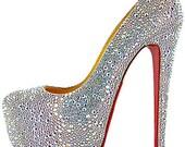 Custom Austrian Crystal Strass Wedding Platform High Heel Daffodile Shoes Size 38 US 8