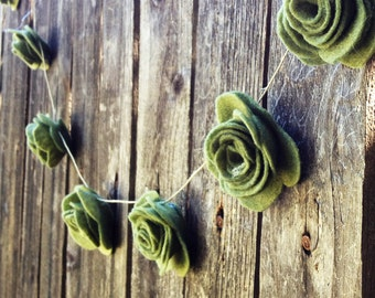 15' Felt Rose Wedding Garland Decoration Decorating Romantic Chic Wedding Cake prop Table Garland  Photo Prop