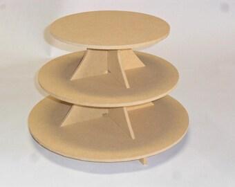 3 Tier Round Cake Stand / Cupcake Stand MDF 3.5