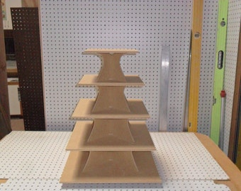 5 Tier Square Cupcake Stand Wood mdf