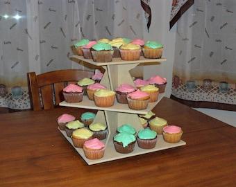 3 Tier Cupcake Stand Square Zig Zag