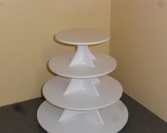 4 Tier Round or Scallop Cake / Cupcake Stand 3.5 White PVC