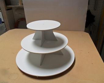 "3 Tier Cupcake Stand Round 10, 15, 20 5"" BETWEEN TIERS"