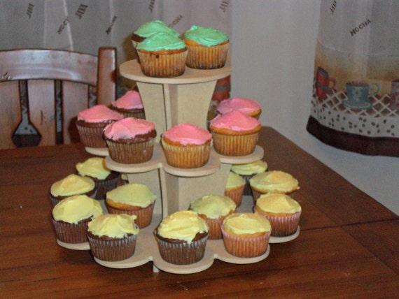 3 tier Flower Cupcake Stand  MDF Wood
