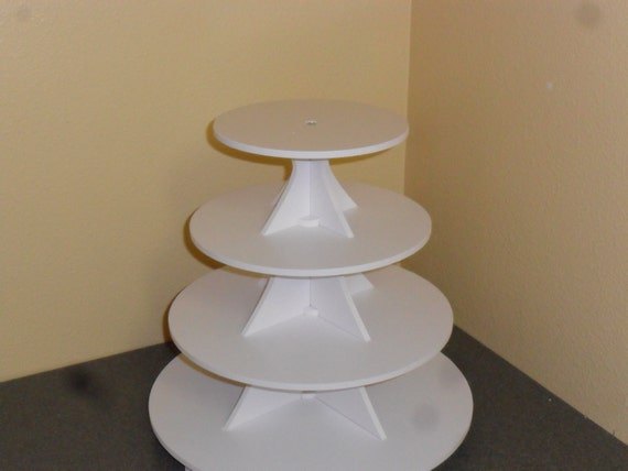 4 Tier Round or Scallop Cake / Cupcake Stand 3.5 White PVC