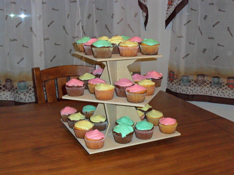 wooden 3 tier cupcake stand square zig zag mdf. Black Bedroom Furniture Sets. Home Design Ideas