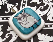 Blue Hoot Owl Resin Pendant