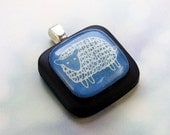 Little Blue Sheep on Black Resin Pendant