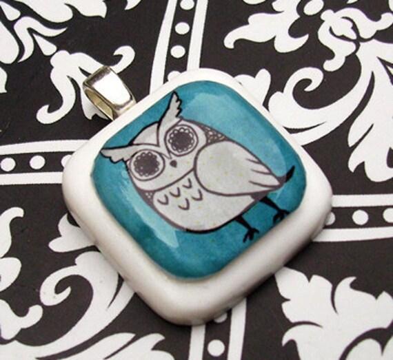 Blue Hoot Owl Resin Pendant