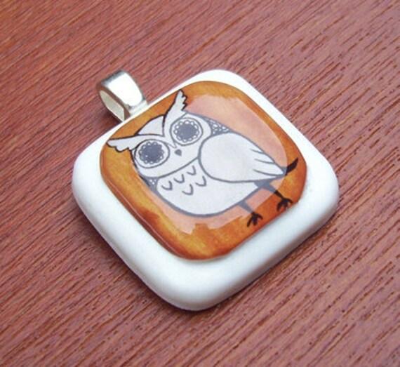 Brown Hoot Owl Resin Pendant