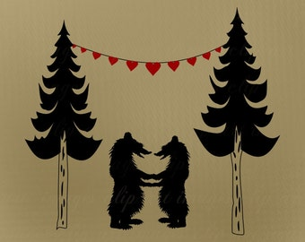Love Bear Clip Art, with Heart Banner and Pine Trees, Royalty Free, No Credit Required, Printable, Digital Download