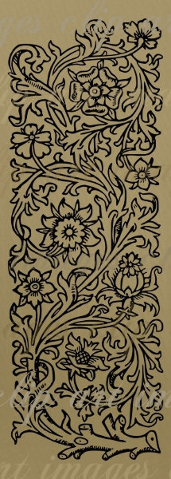 Floral Panel no.2 Clip Art, digital designers tool, png and scalable vector art ROYALTY FREE
