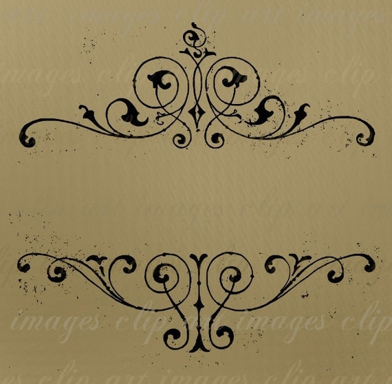 Vintage Borders Clip Art, Grungy, designers element for invitations, wedding designs, note cards, monograms, text, titles, etc. Royalty Free
